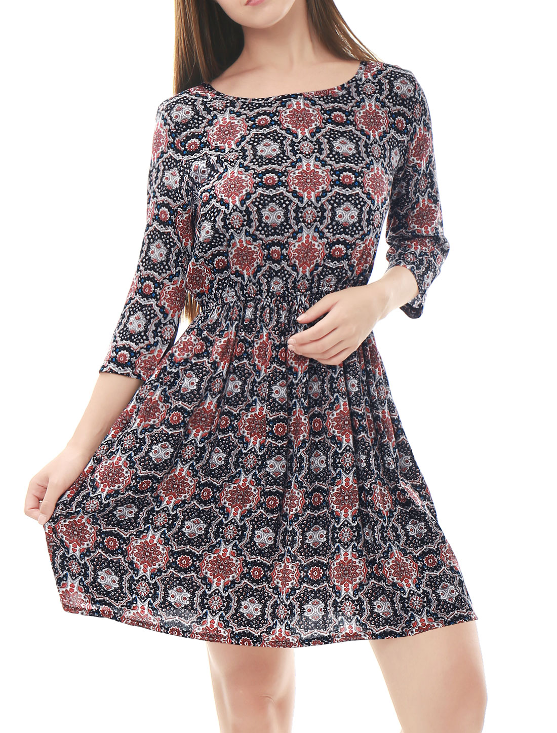 Woman Floral Prints 3/4 Sleeves Elastic Waist A Line Dress Black XS