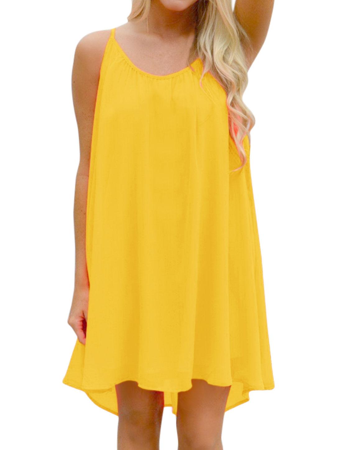 Women Spaghetti Straps Hollow Out Panel Back Loose Chiffon Dress Yellow M