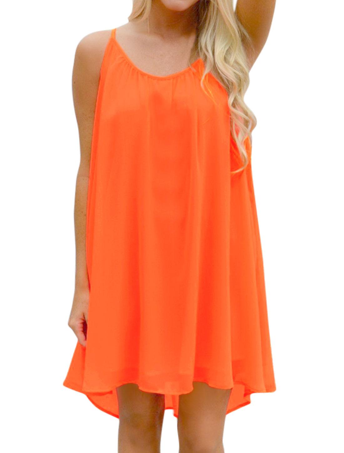 Women Spaghetti Straps Hollow Out Panel Back Loose Chiffon Dress Orange M