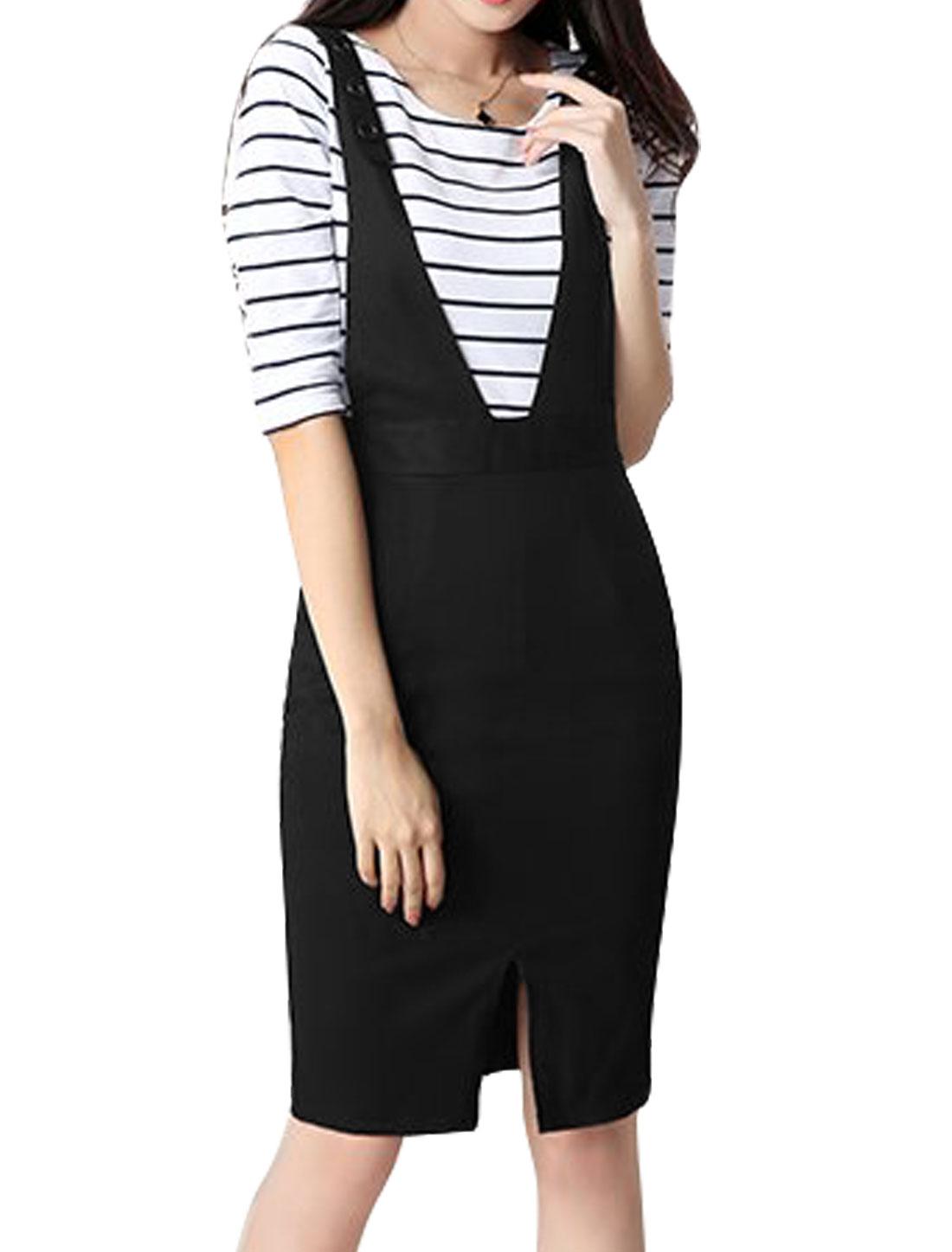 Women Adjustable Strap Split Front Suspender Skirt Black S