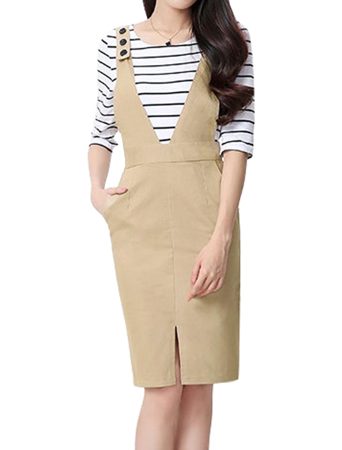 Women Adjustable Strap Split Front Suspender Skirt Beige S