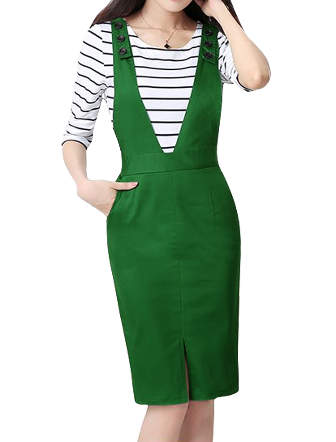 Women Adjustable Strap Split Front Suspender Skirt Green S