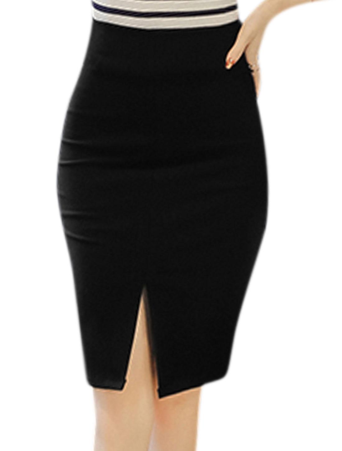Women High Waist Split Side Above Knee Pencil Skirt Black XL