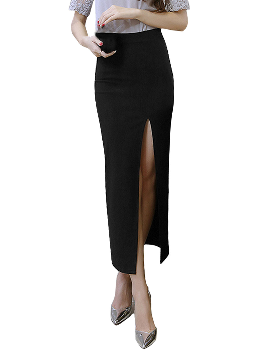 Women High-Waist High Split Front Straight Long Pencil Skirt Black XL