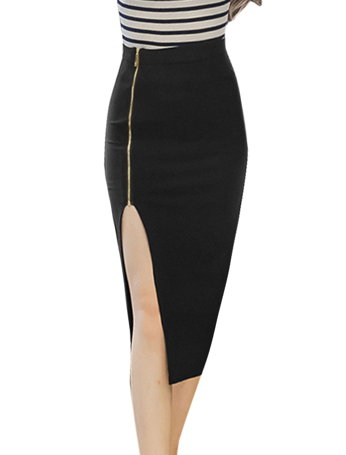 Women Exposed 1/2 Zip Closure High Split Side Pencil Skirt Black L