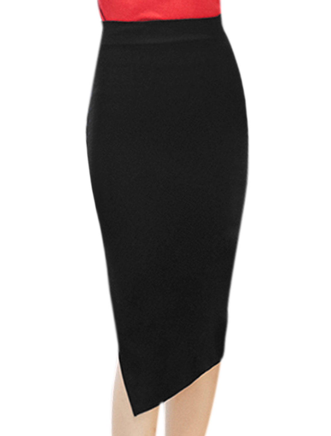 Women High Waist Split Side Below Knee Length Pencil Skirt Black L