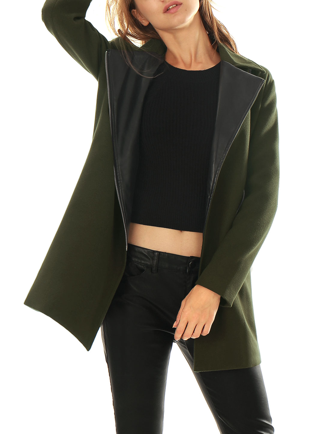 Women Notched Lapel Zip Closure Front Worsted Coat Green L