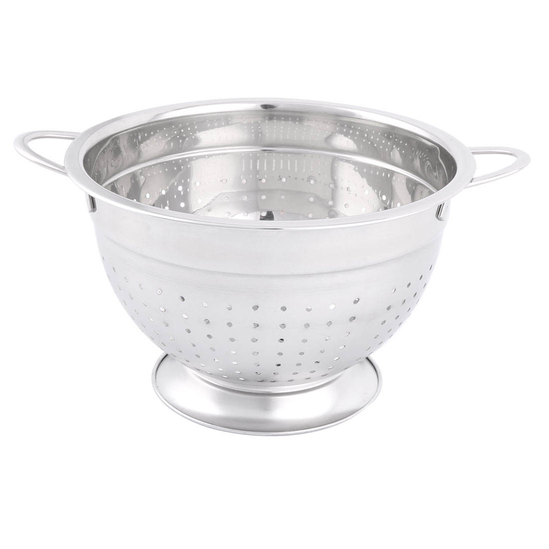 Household Stainless Steel Fruit Vegetable Nuts Drain Basket Silver Tone 18cm Dia