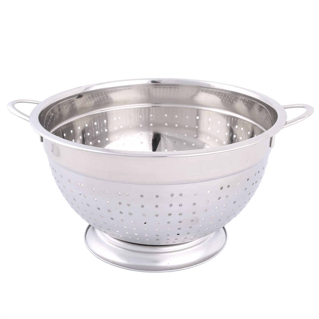 Hosehold Stainless Steel Two Lugs Round Holes Fruit Vegetable Container Basket 24cm Dia