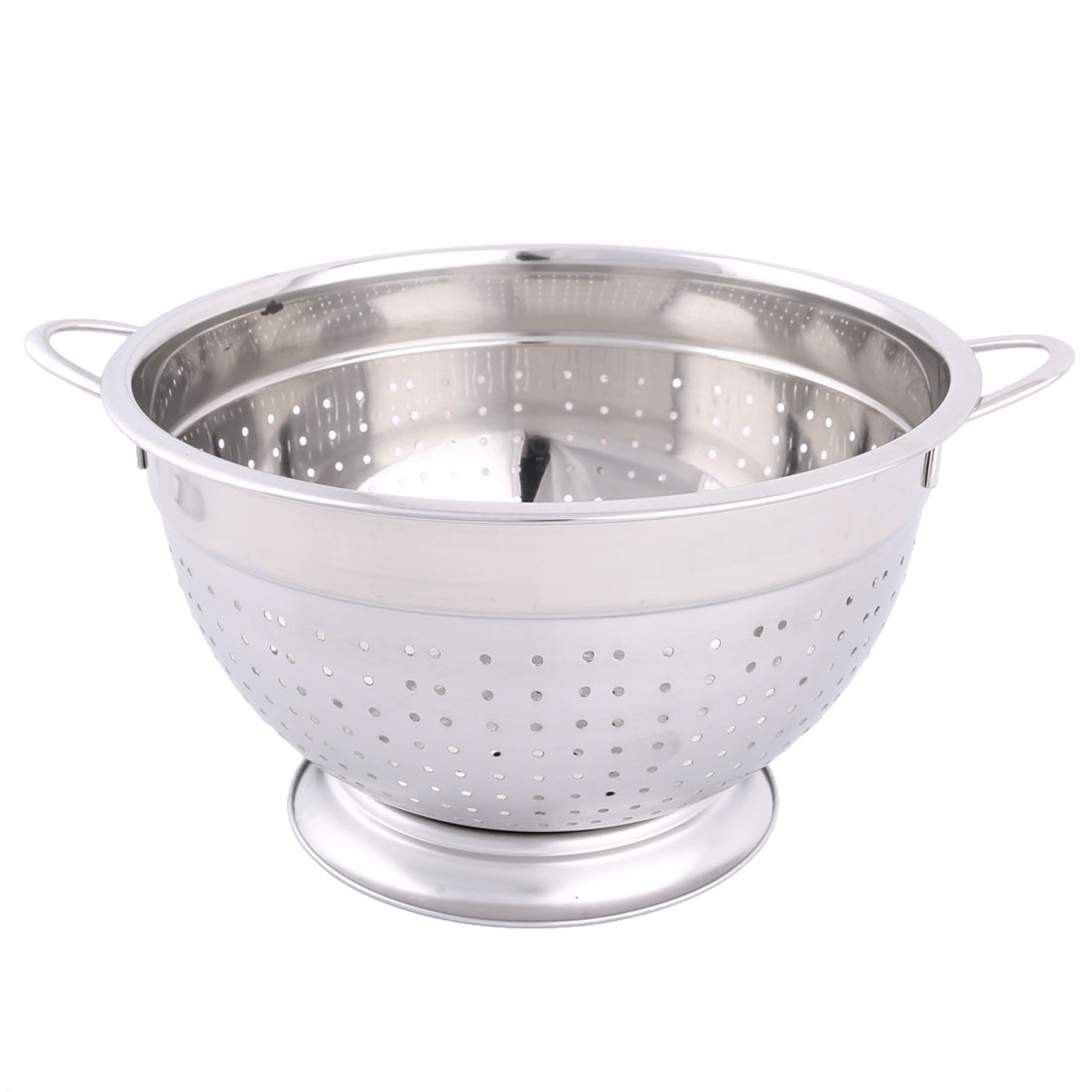 Household Stainless Steel Fruit Vegetable Nuts Drain Basket Silver Tone 28cm Dia
