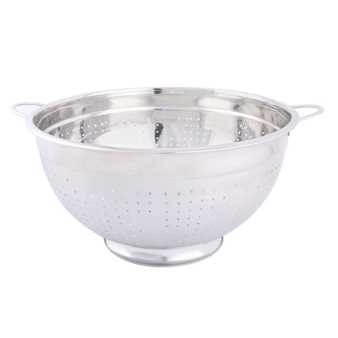 Household Stainless Steel Fruit Vegetable Nuts Drain Basket Silver Tone 32cm Dia