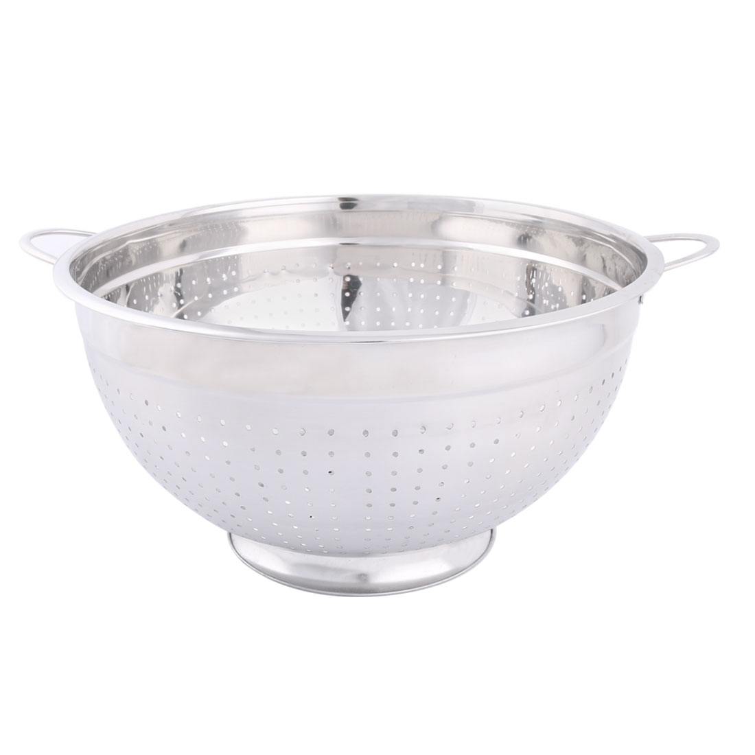 Household Stainless Steel Fruit Vegetable Nuts Drain Basket Silver Tone 34cm Dia