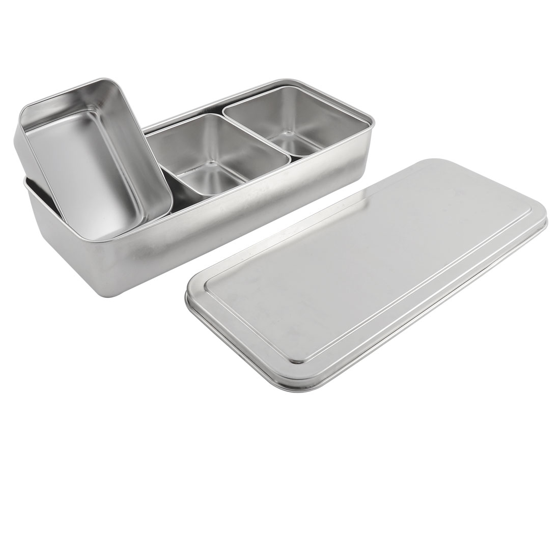 Kitchen Stainless Steel 3 Compartments Salt Seasoning Condiment Container Box Case Holder