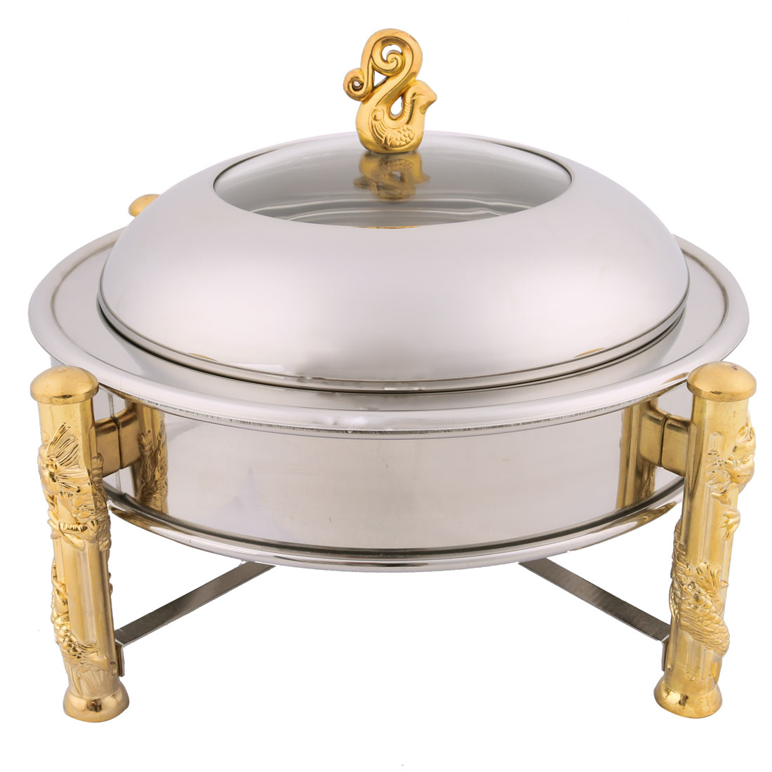 Picnic Kitchen Metal Round Cookware Dish Food Chafer Set Silver Tone 22cm Dia