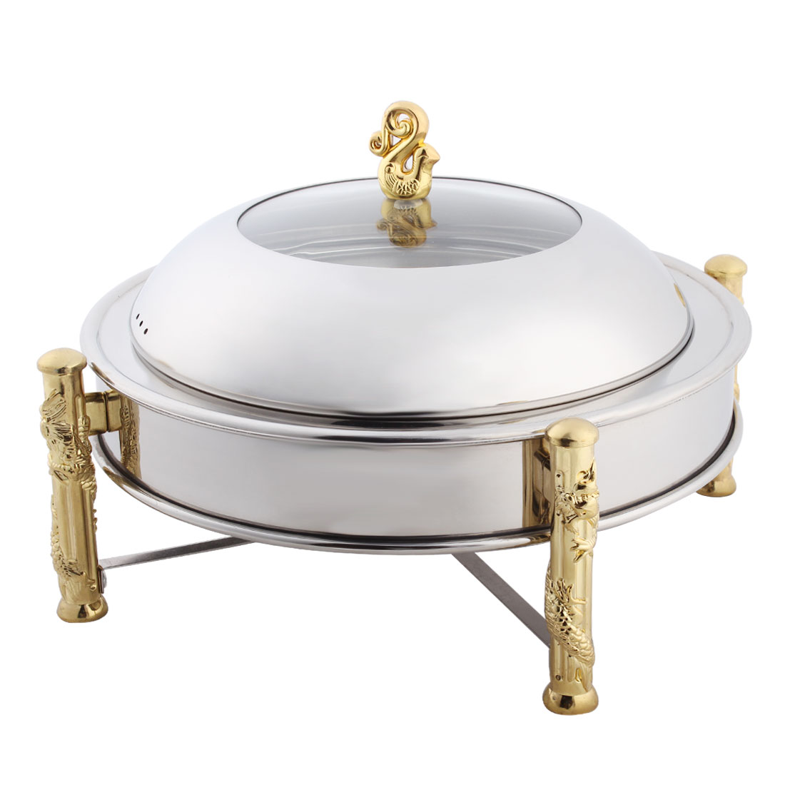 Household Metal Round Shaped Food Dish Cookware Holder Chafer Pan Silver Tone 27cm Dia