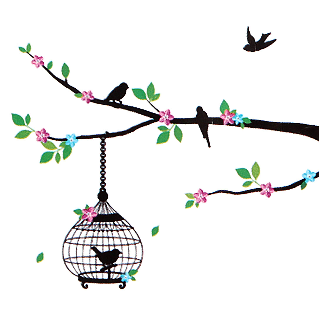 Bird Cage Tree Pattern Removable Wall Sticker Decal Mural Art Decoration