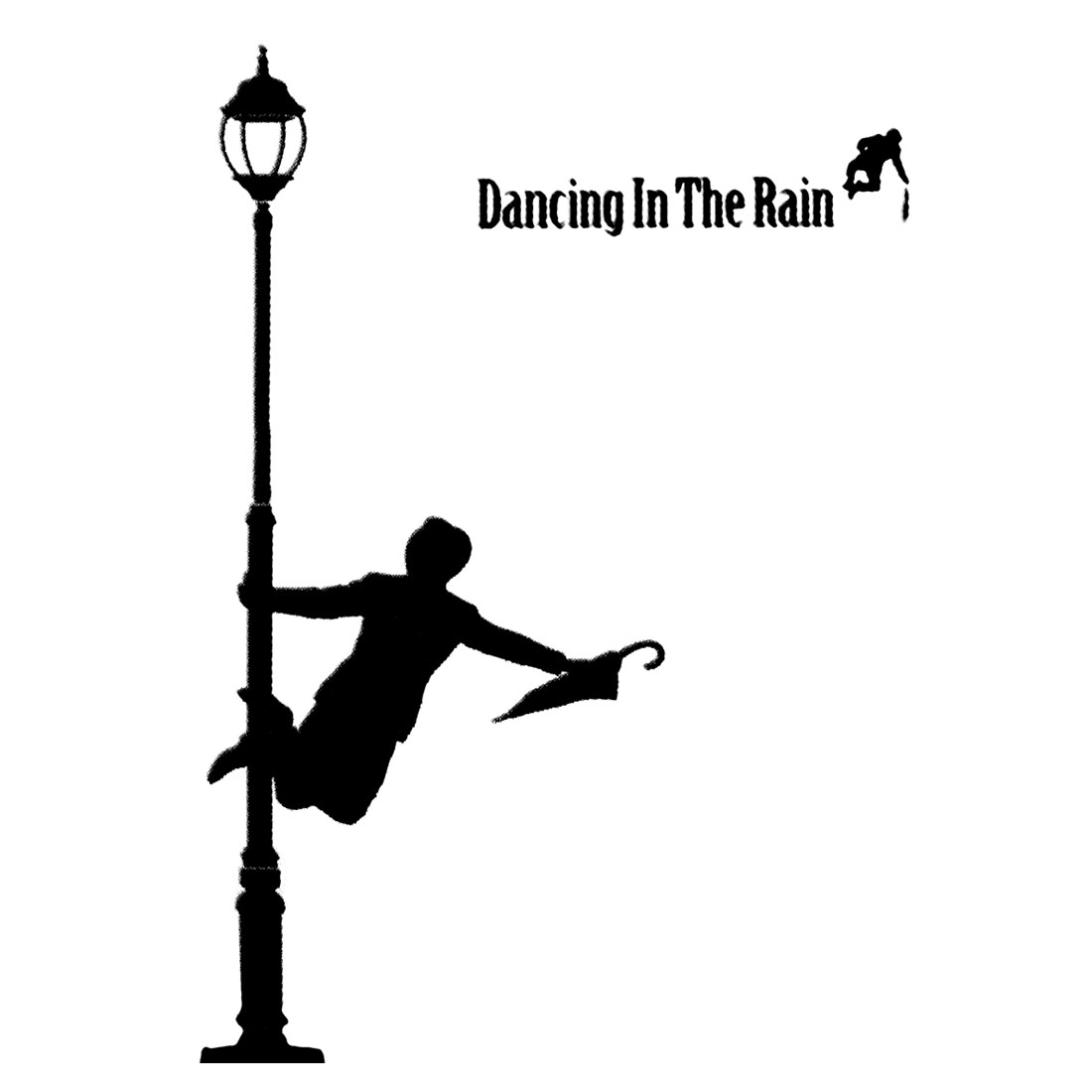 Dance In The Rain Pattern Removable Wall Sticker Decal Mural Art Decor Black