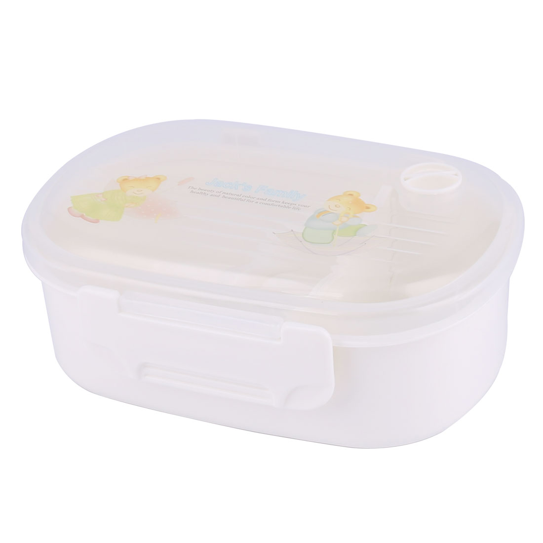 Oval Shaped 2 Compartments Tableware Food Bento Lunch Bowl Container Box