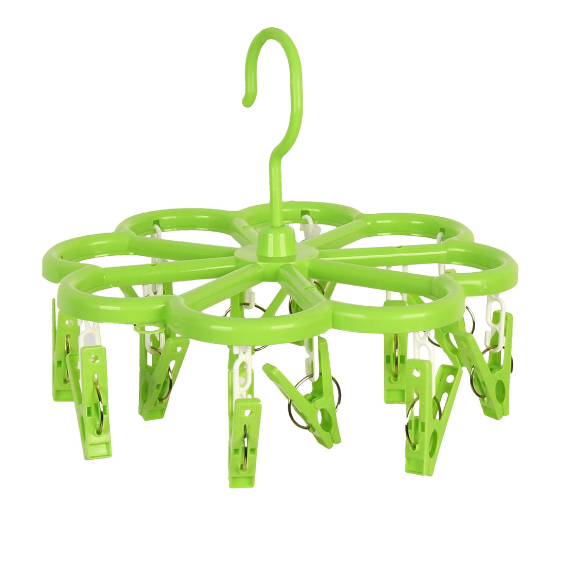 Household Flower Shaped Swivel Hook 12 Pegs Drying Rack Clothes Hanger Green