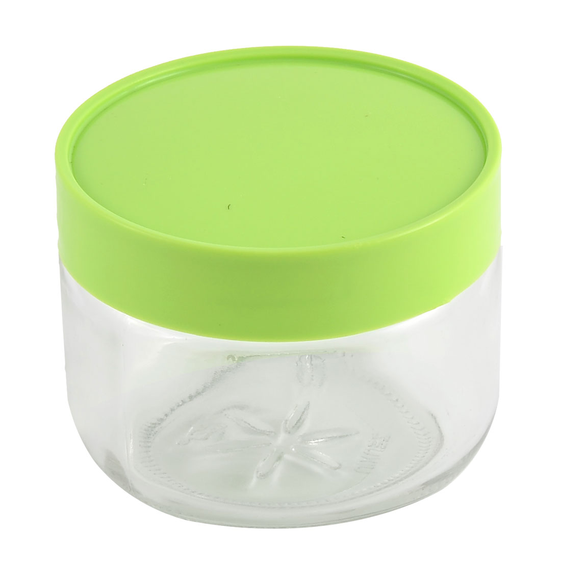 Household Glass Cylinder Tea Candy Coffee Food Storage Container Box Green 450ML