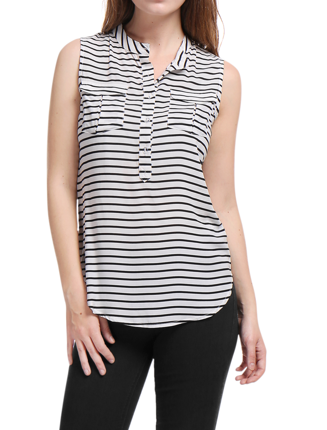 Women Stand Collar Half Placket Striped Sleeveless Shirt White S