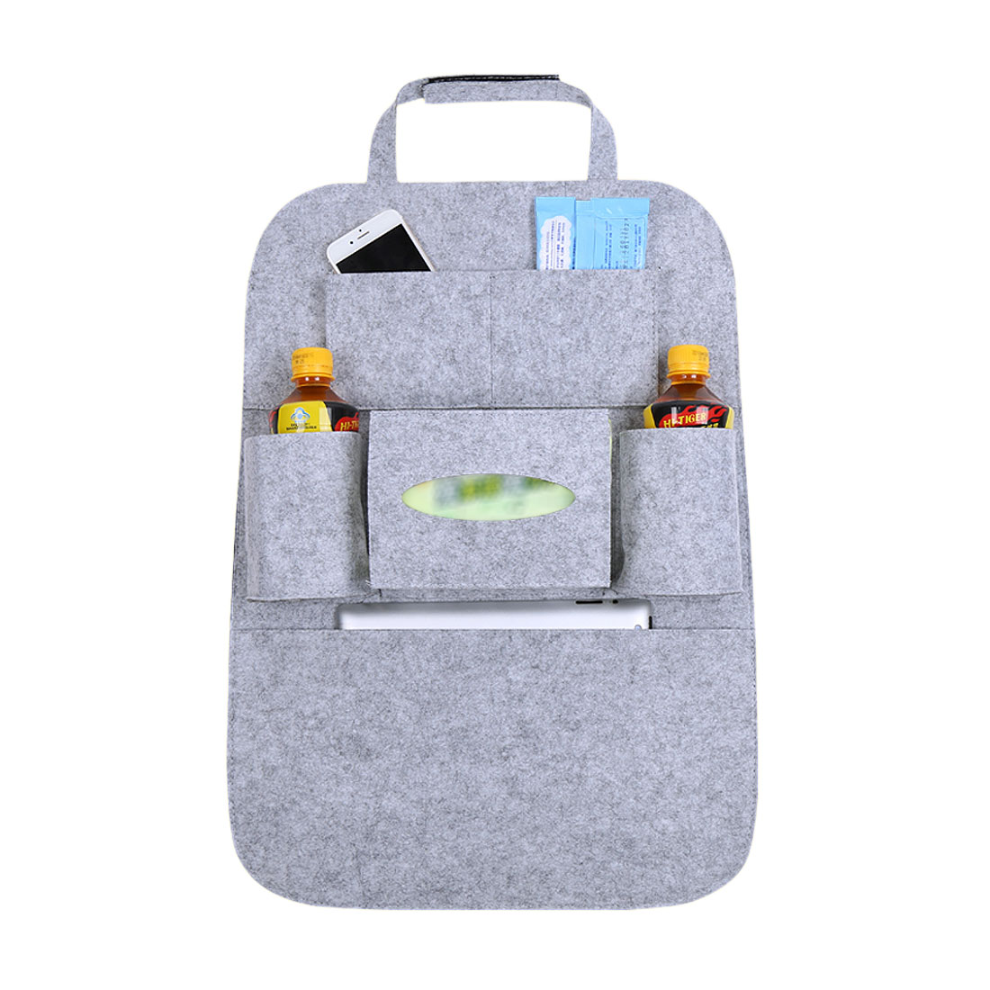 Gray Multi-Pocket Storage Bag Car Vehicle Seat Back Hanger Holder Organizer