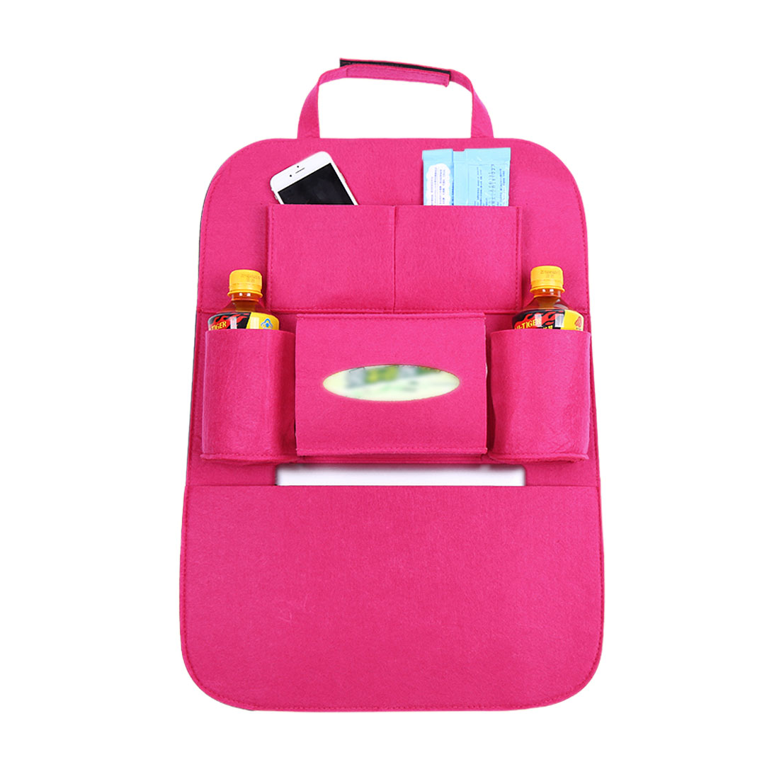 Fuchsia Multi-Pocket Storage Bag Car Auto Vehicle Seat Back Hanger Holder Organizer