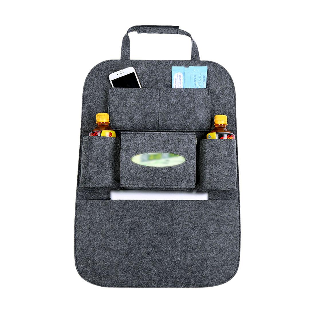 Deep Gray Multi-Pocket Storage Bag Car Vehicle Seat Back Hanger Holder Organizer