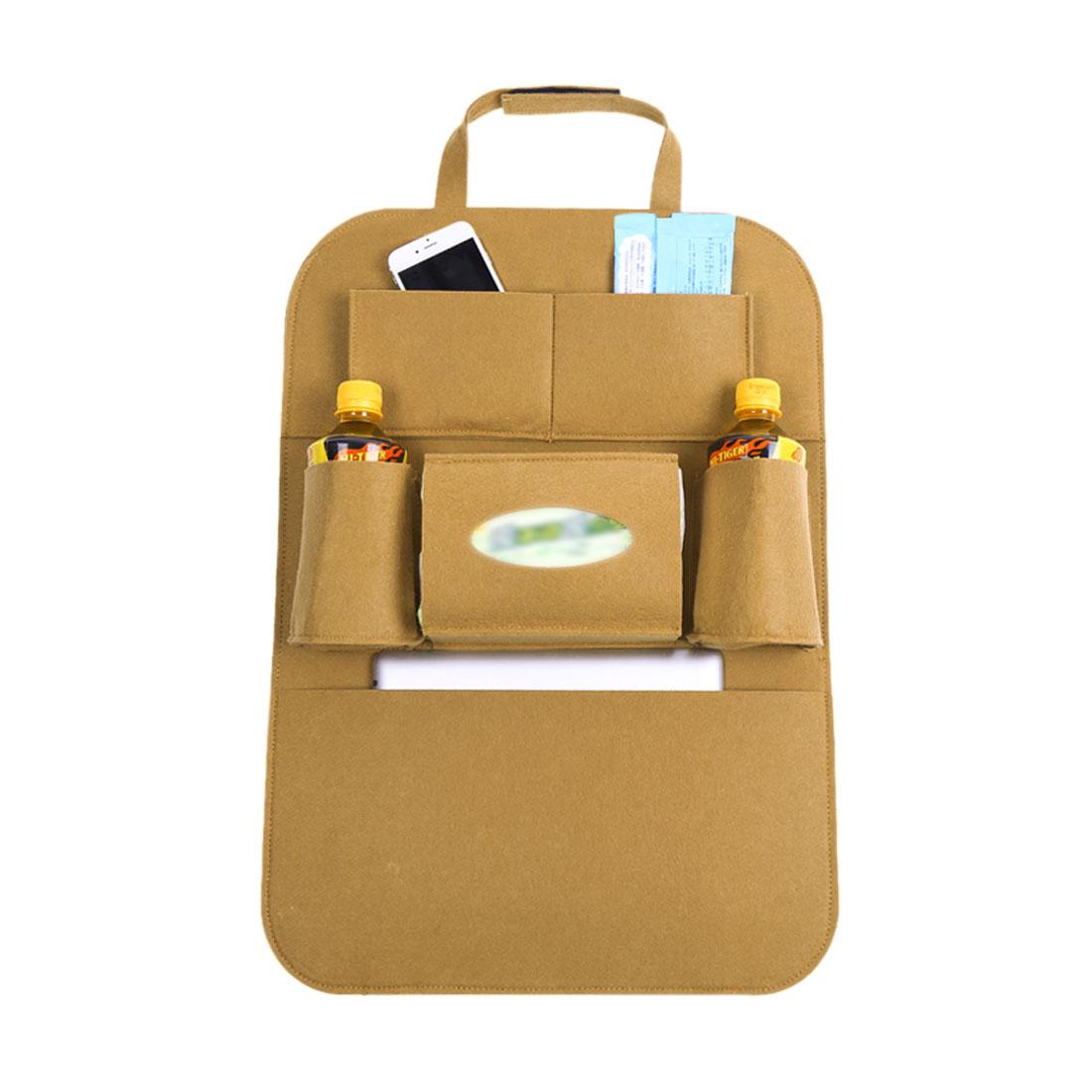 Khaki Car Auto Seat Back Multi-Pocket Storage Bag Organizer Holder Travel Hanger