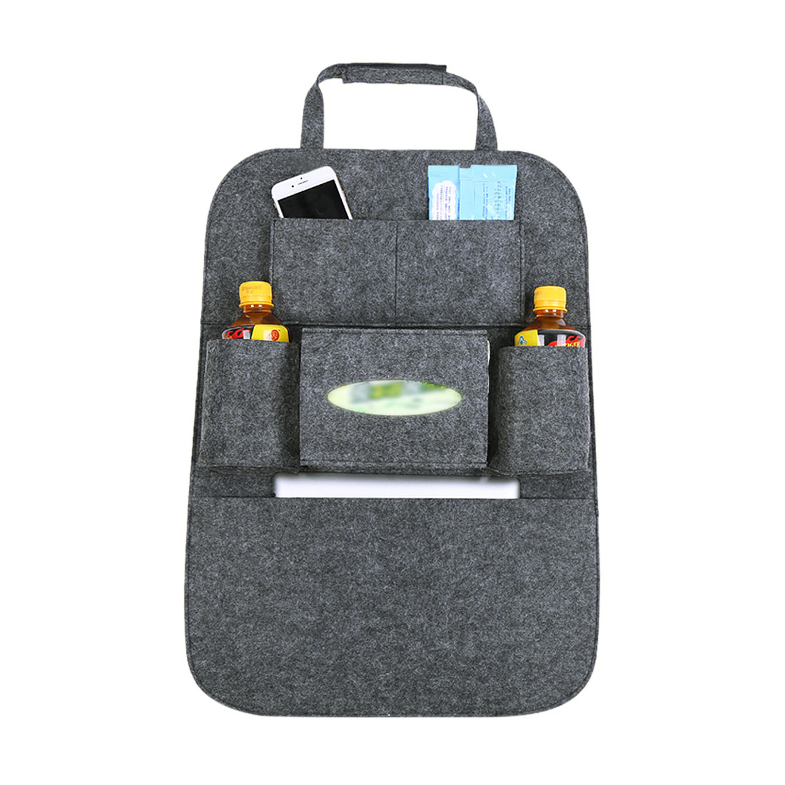 Deep Gray Car Seat Back Multi-Pocket Storage Bag Organizer Holder Travel Hanger