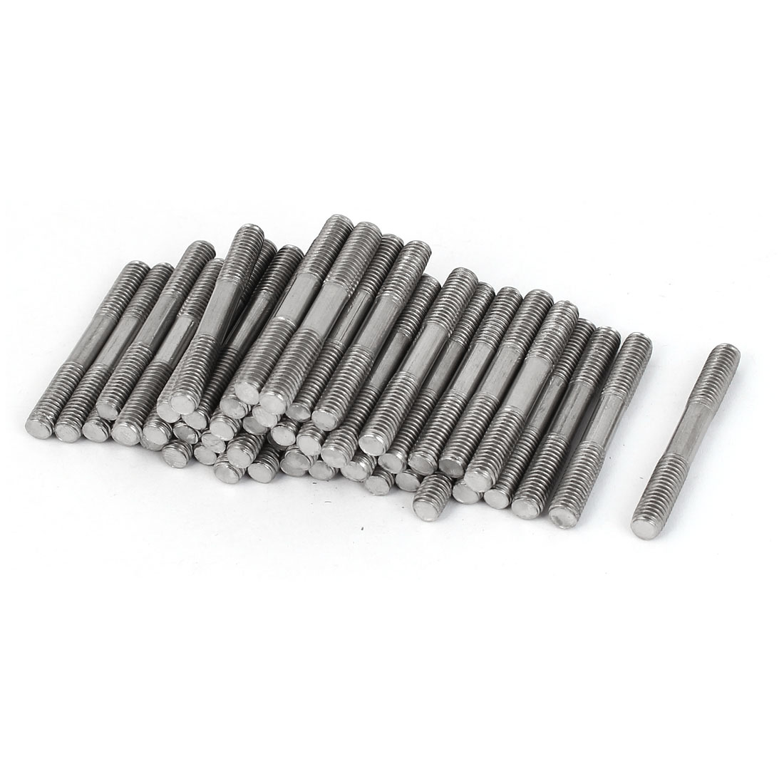 M5x40mm 304 Stainless Steel Double End Thread Tight Adjustable Push Rod Stud 50pcs