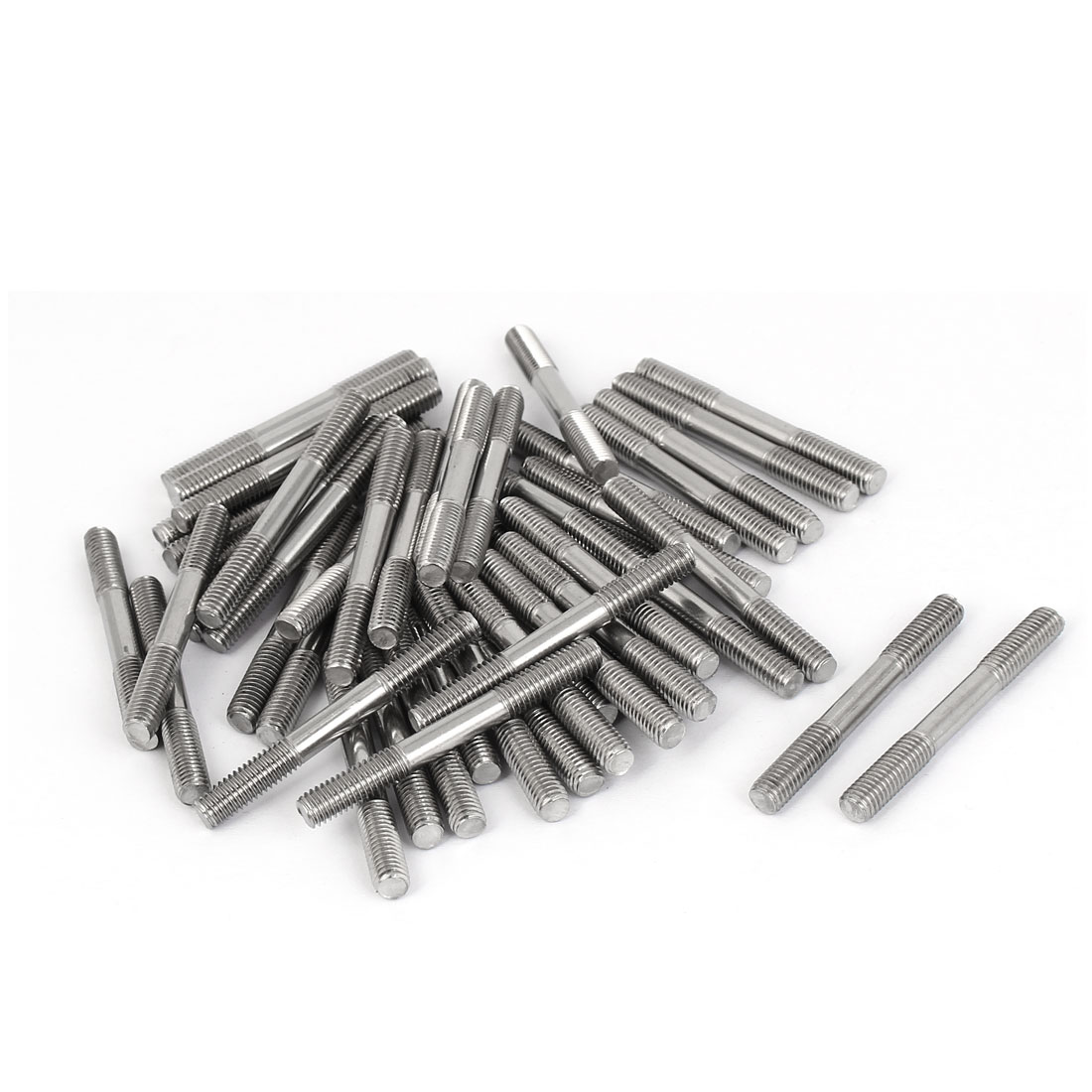 M5x45mm 304 Stainless Steel Double End Thread Tight Adjustable Push Rod Stud 50pcs