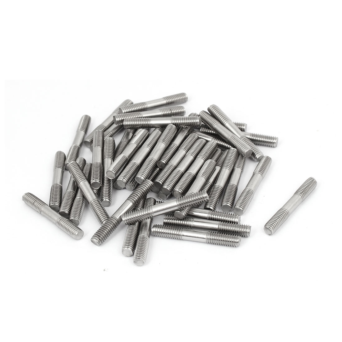 M6x40mm 304 Stainless Steel Double End Threaded Stud Screw Bolt 50pcs