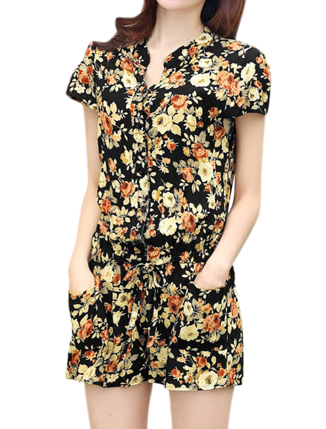 Women Floral Prints Cap Sleeves Elastic Waist Buttoned Romper Black S
