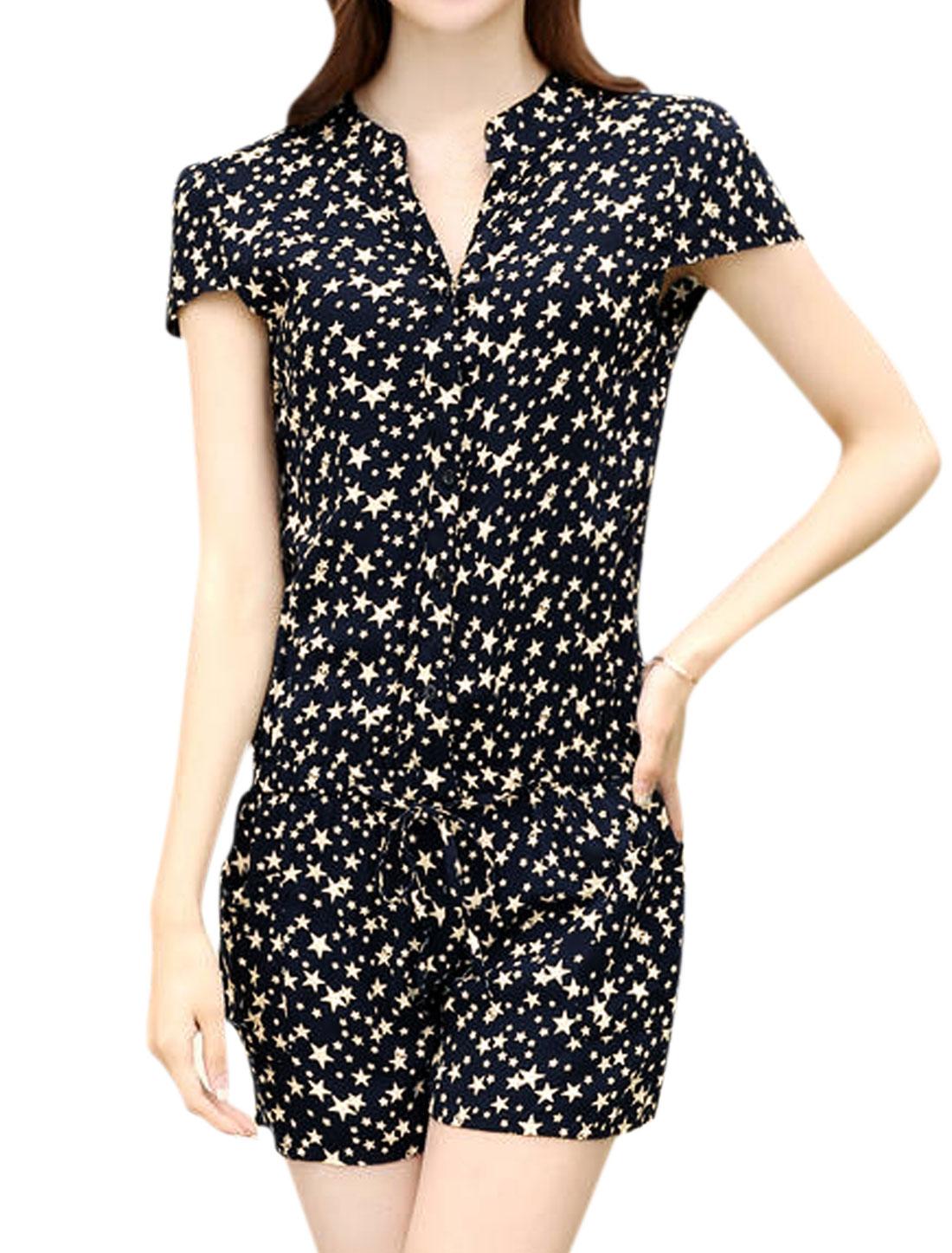 Women Stars Pattern Cap Sleeves Elastic Waist Buttoned Romper Blue S