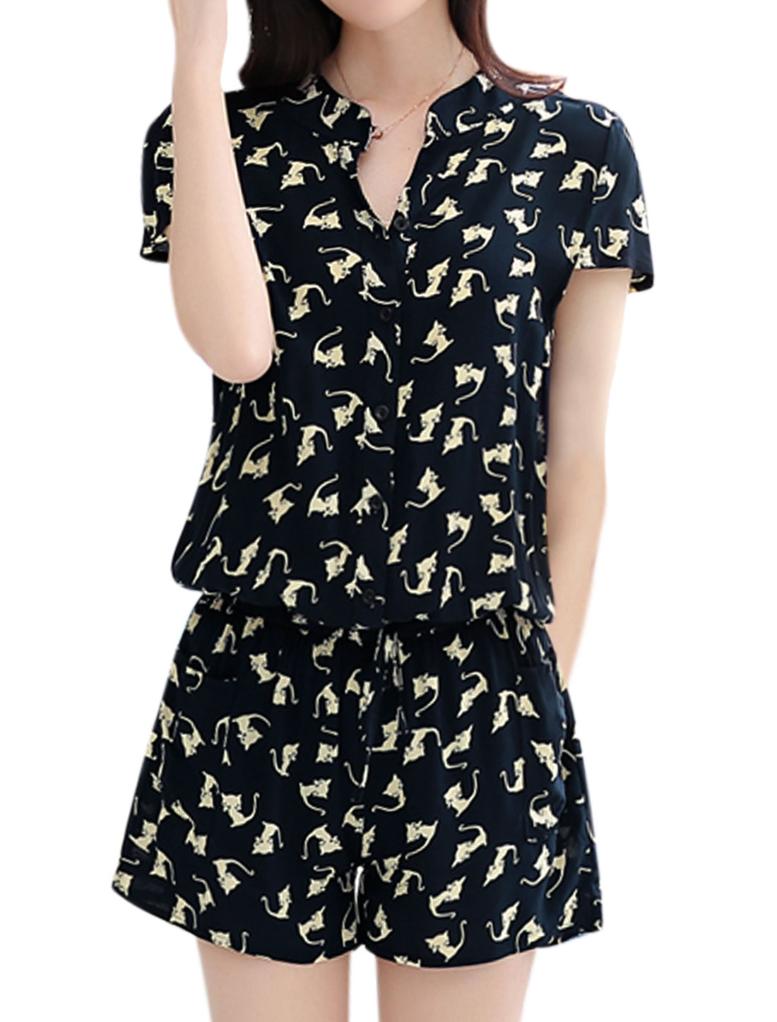 Women Cat Prints Cap Sleeves Elastic Waist Buttoned Romper Blue S