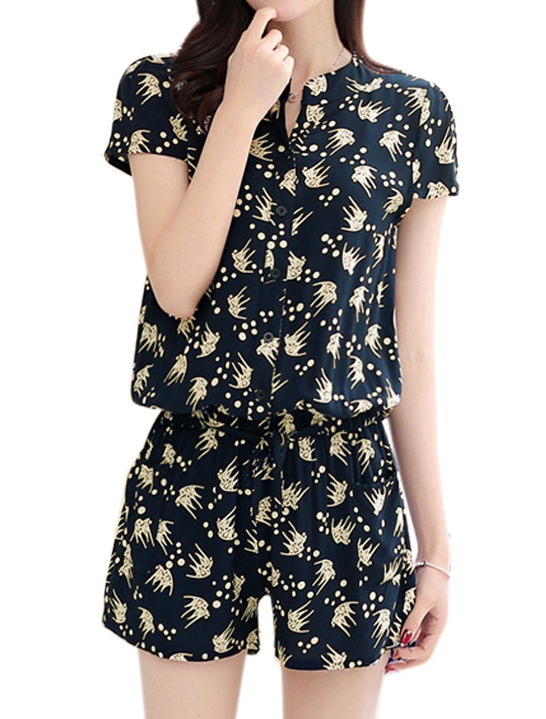 Women Fish Prints Cap Sleeves Elastic Waist Buttoned Romper Blue S
