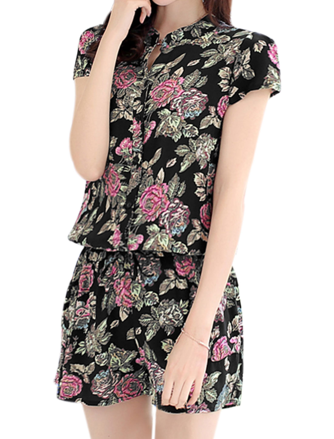 Women Floral Prints Cap Sleeves Elastic Waist Romper Black S