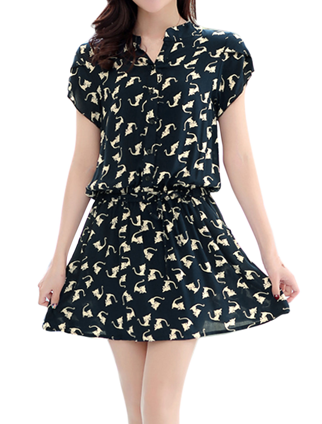 Women Cats Print Elastic Waist Petal Sleeves Dress Blue S