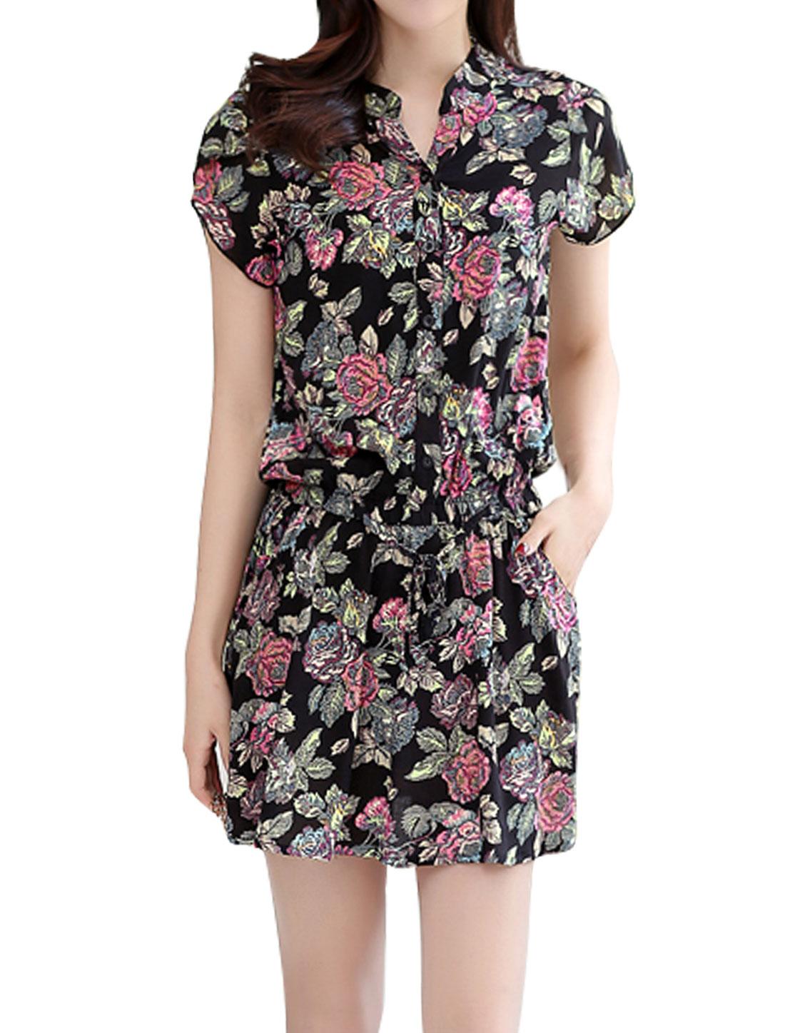 Women Floral Prints Elastic Waist Petal Sleeves Dress Black S