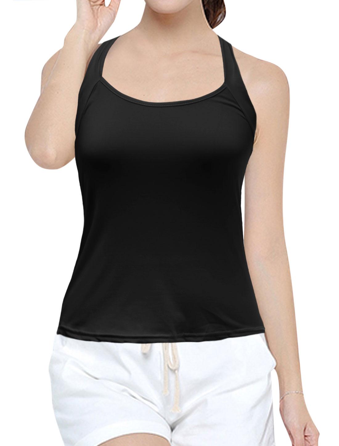 Women Halter Neck Sleeveless Open Back Slim Fit Top Black L