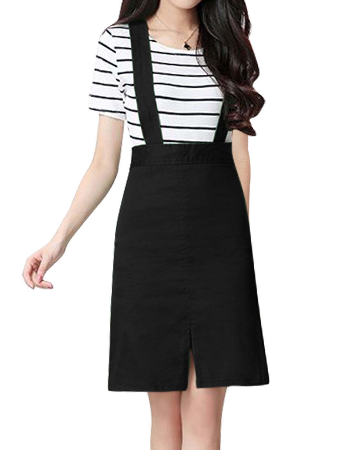 Women Detachable Straps Split Front A Line Suspender Skirt Black M