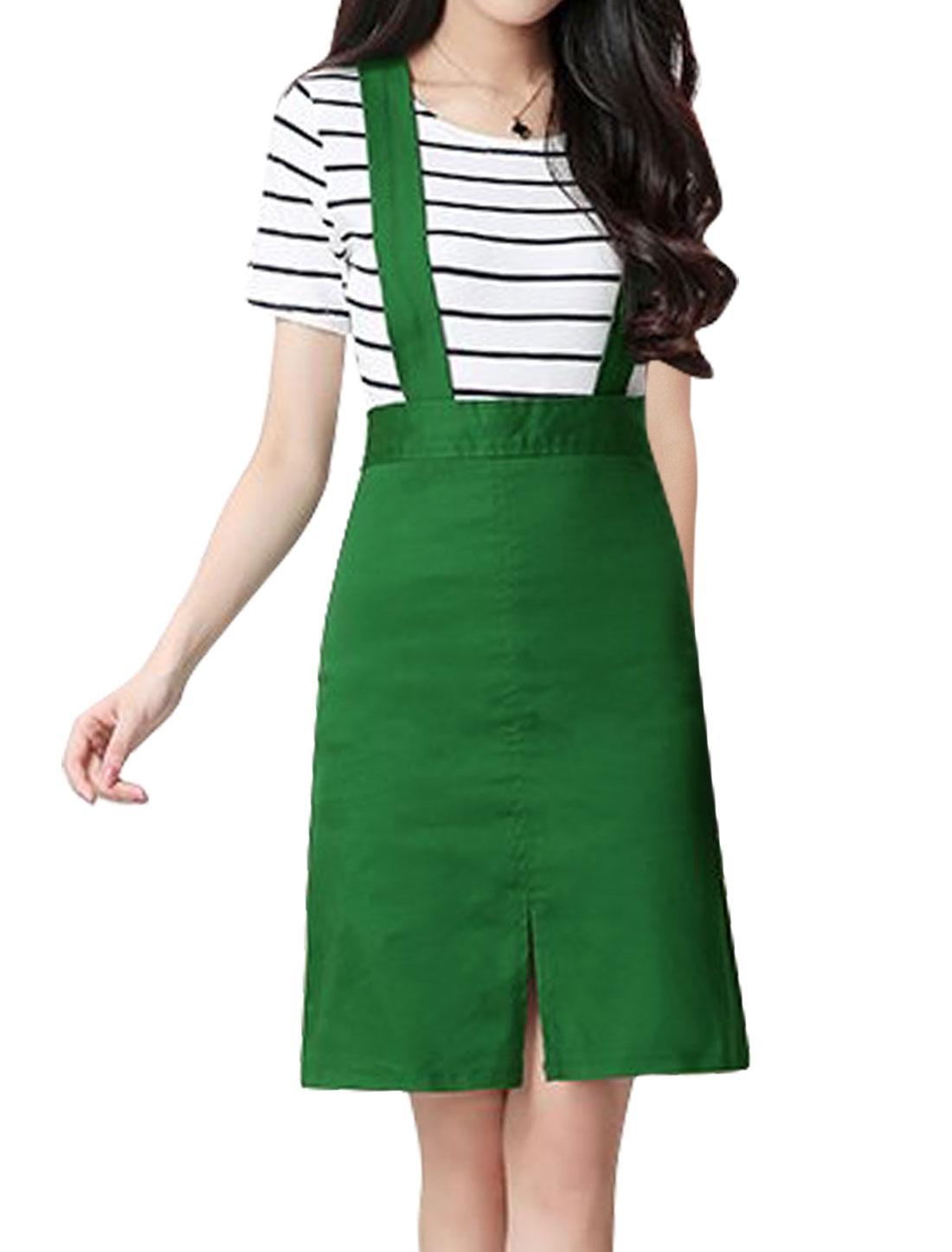 Women Detachable Straps Split Front A Line Suspender Skirt Green M