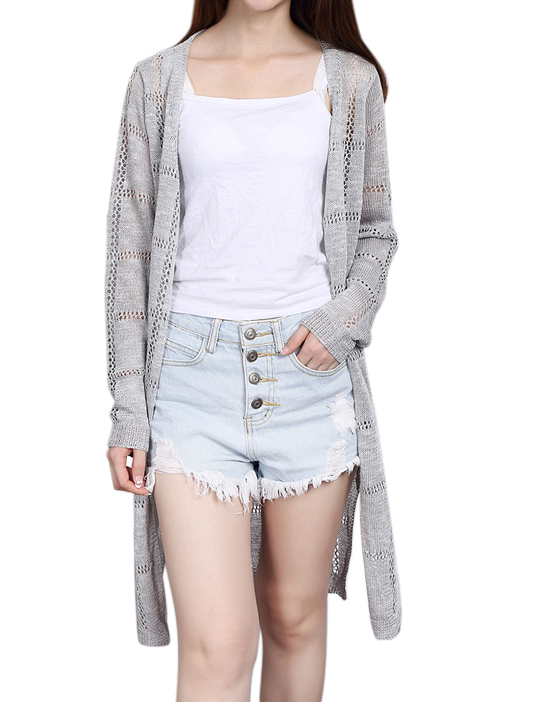 Women Open Front Hollow Out Split Sides Tunic Knit Cardigan Gray XS