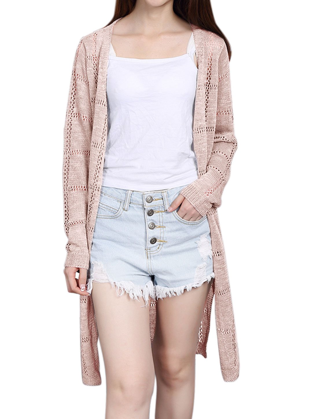 Women Open Front Hollow Out Split Sides Tunic Knit Cardigan Pink XS
