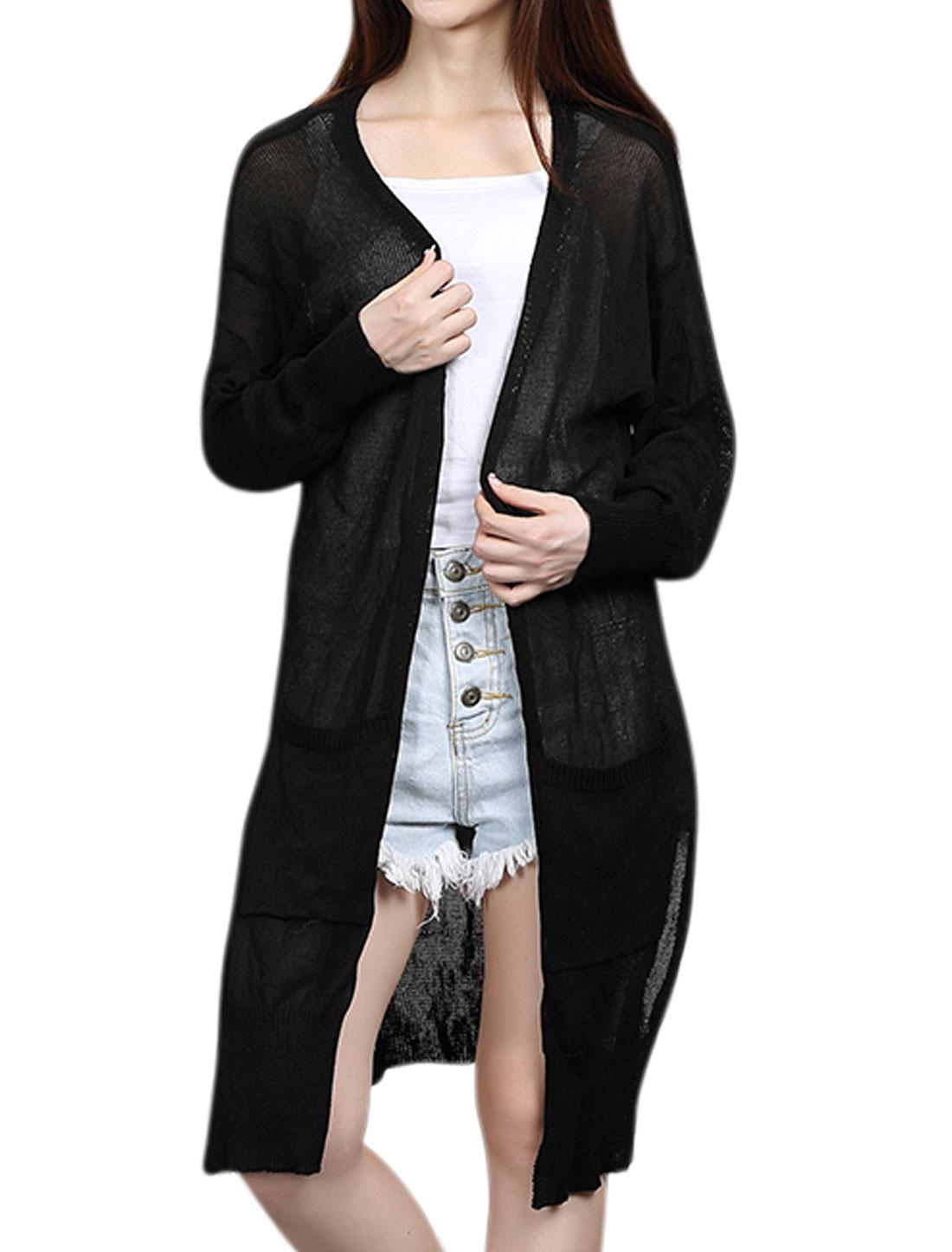 Women Long Sleeves Split Sides Knitted Tunic Cardigan Black XS