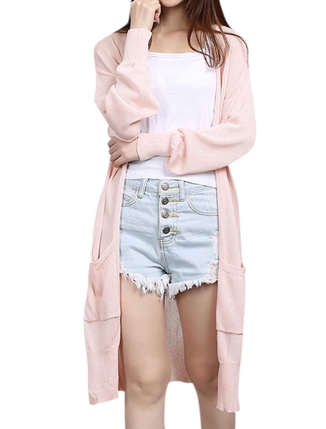 Women Long Sleeves Split Sides Knitted Tunic Cardigan Pink XS