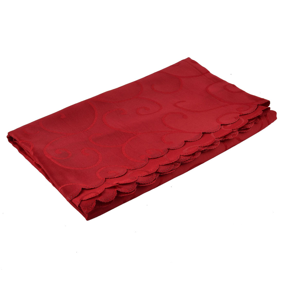 Home Hotel Restaurant Polyester Rectangular Flower Pattern Tablecloth Table Cloth Cover Red 70 x 55 Inch