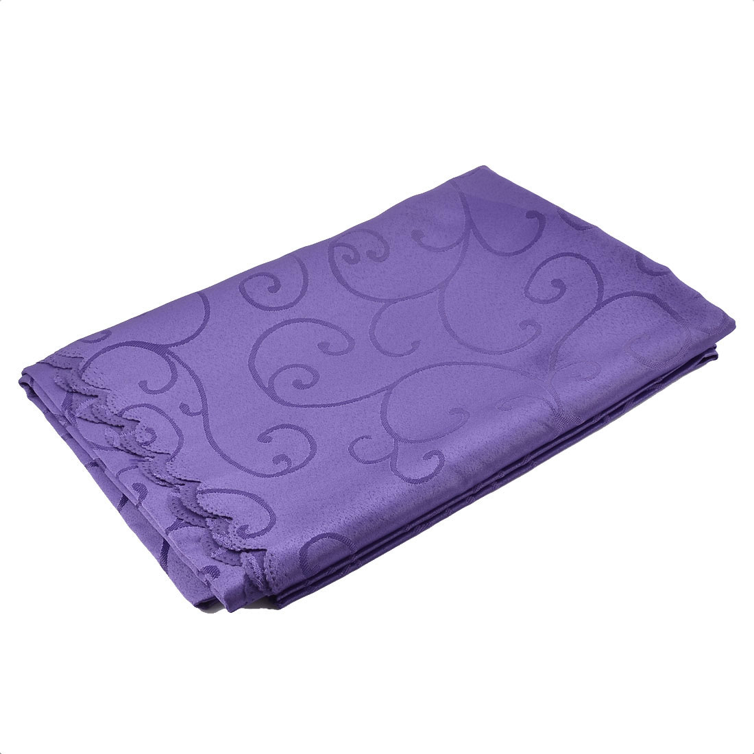 Home Hotel Restaurant Polyester Rectangular Flower Pattern Tablecloth Table Cloth Cover Purple 70 x 55 Inch