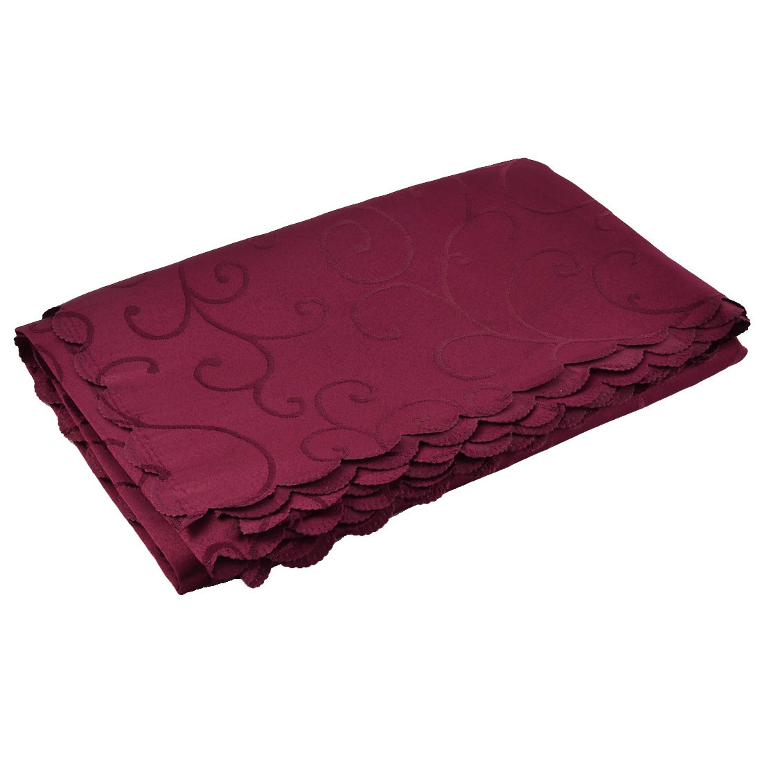Home Hotel Restaurant Polyester Rectangular Flower Pattern Tablecloth Table Cloth Cover Dark Red 70 x 55 Inch